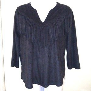 Express Black Suede Fringe V-Neck Top XS